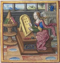 """""""Nichostrata écrivant, dans Antoine Dufour"""", Les Vies des femmes célèbres, exemplaire de dédicace à Anne de Bretagne, peint à Paris par Jean Pichore, 1504-1506"""