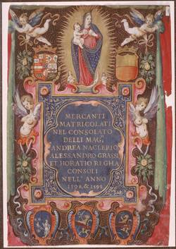 """""""Registre de marchands"""", Italie, 1599"""
