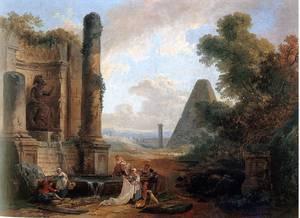 "Hubert Robert, ""La Fontaine de Minerve à Rome"", 1772"