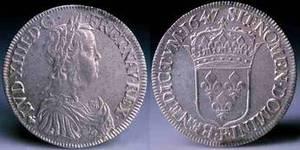"""""""Le futur Roi Soleil frappé à Angers"""", Ecu en argent frappé, 1647"""